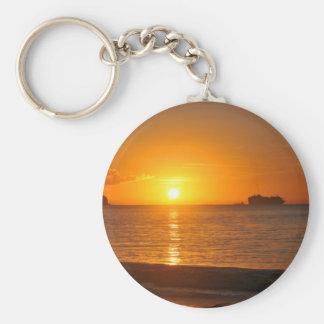 Puesta del sol en el Caribe Llavero Redondo Tipo Pin