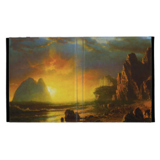 Puesta del sol en el caso del iPad 3 de la costa d