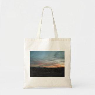 Puesta del sol en el desierto bolsa tela barata