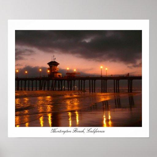 Puesta del sol en el embarcadero California de Hun Póster