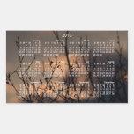 Puesta del sol en el fondo; Calendario 2013 Rectangular Pegatinas