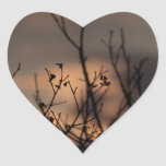 Puesta del sol en el fondo pegatina de corazon