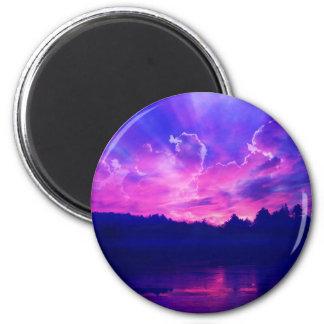 Puesta del sol en el horizonte imán redondo 5 cm