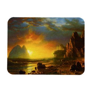 Puesta del sol en el imán de la costa de Californi