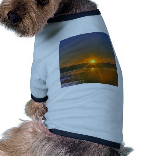 Puesta del sol en el lago birch camiseta con mangas para perro
