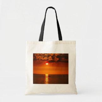 Puesta del sol en el lago - bolso bolsa lienzo