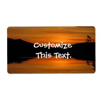 Puesta del sol en el lago Fox Etiqueta De Envío