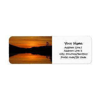 Puesta del sol en el lago Fox Etiqueta De Remite
