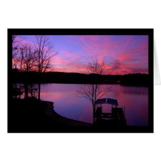 Puesta del sol en el lago Keowee (espacio en blanc Tarjetas