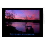Puesta del sol en el lago Keowee (título) Tarjetas