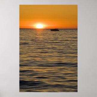 Puesta del sol en el lago Michigan Poster