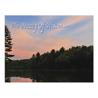 Puesta del sol en el lago mirror tarjeta postal