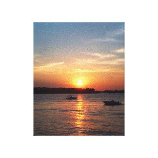 Puesta del sol en el lago Okoboji Iowa Impresión En Lienzo Estirada