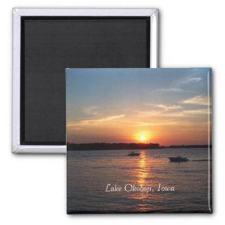 Puesta del sol en el lago Okoboji, Iowa Imán Cuadrado