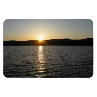 Puesta del sol en el lago Onota: Horizontal Imán De Vinilo