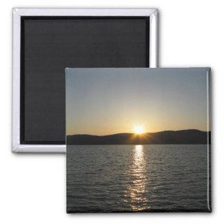 Puesta del sol en el lago Onota: Vertical Imán Cuadrado