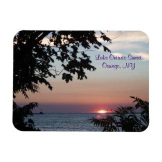 Puesta del sol en el lago Ontario Imanes Flexibles