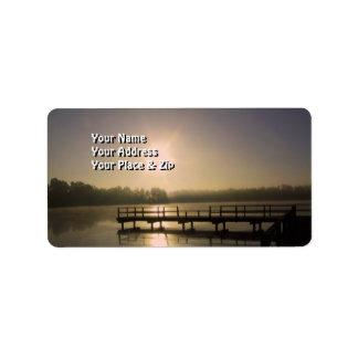 Puesta del sol en el lago Perry Etiquetas De Dirección