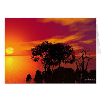 Puesta del sol en el lago tarjetón