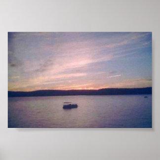 Puesta del sol en el lago Wallenpaupack Poster
