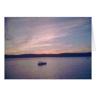Puesta del sol en el lago Wallenpaupack Tarjetón