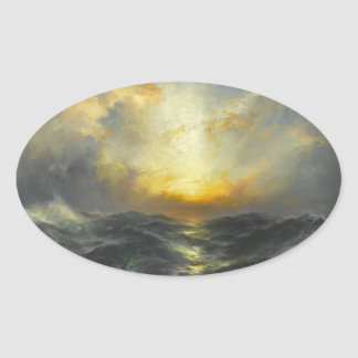 Puesta del sol en el mar - 1906 pegatina ovalada