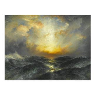 Puesta del sol en el mar - 1906 tarjeta postal