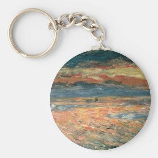 Puesta del sol en el mar de Pedro Renoir, bella Llavero Redondo Tipo Pin