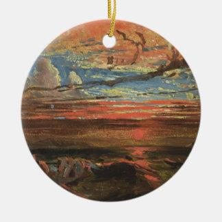Puesta del sol en el mar después de una tormenta ( ornamentos de reyes