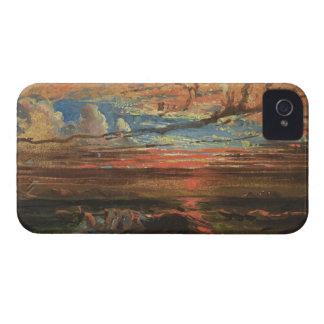 Puesta del sol en el mar después de una tormenta ( iPhone 4 Case-Mate cárcasa
