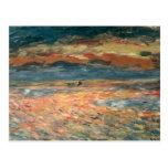 Puesta del sol en el mar por Renoir, arte del Postal