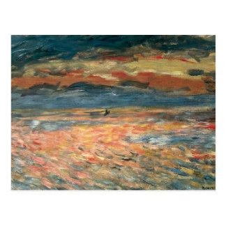 Puesta del sol en el mar por Renoir, arte del Tarjetas Postales