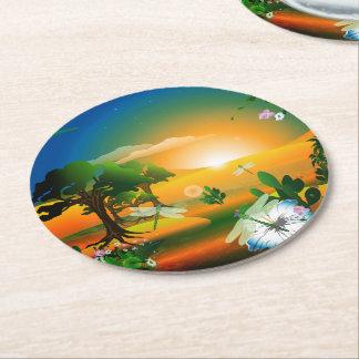 Puesta del sol en el mundo de fantasía posavasos personalizable redondo