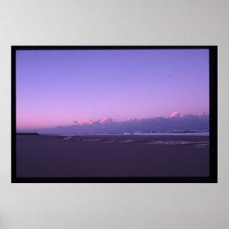 puesta del sol en el océano poster