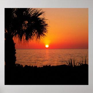 Puesta del sol en el océano impresiones