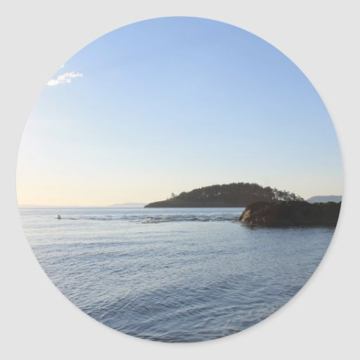 Puesta del sol en el océano pegatina redonda