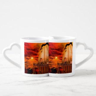 Puesta del sol en el país de las maravillas taza para parejas