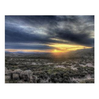 Puesta del sol en el parque nacional de la curva postal