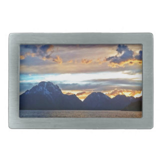Puesta del sol en el parque nacional magnífico de  hebillas cinturón rectangulares