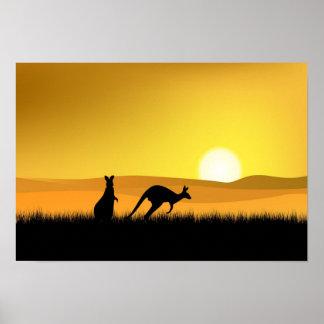 Puesta del sol en el poster de Australia
