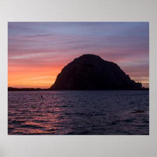 Puesta del sol en el poster de la roca de Morro