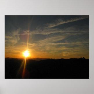 Puesta del sol en el poster de la ruta verde