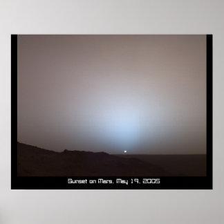 Puesta del sol en el poster de Marte