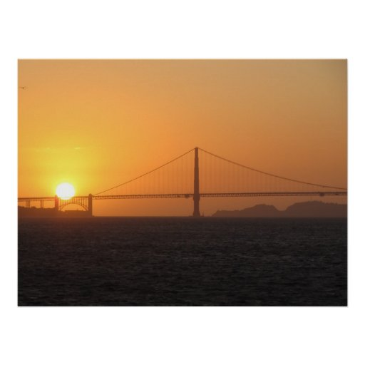 Puesta del sol en el poster de puente Golden Gate