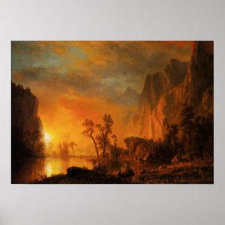 Puesta del sol en el poster de Rockies