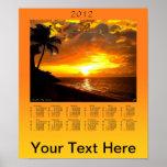 Puesta del sol en el poster del calendario de las