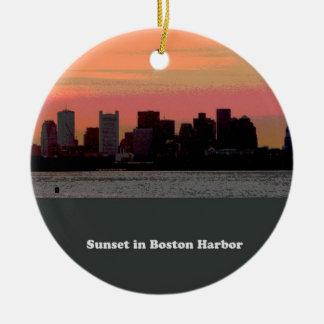 Puesta del sol en el puerto de Boston Ornamente De Reyes