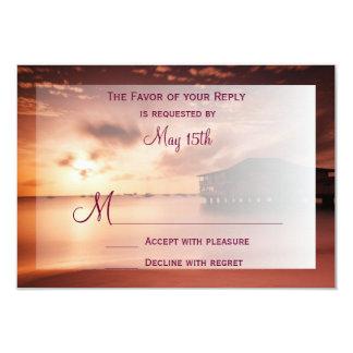 Puesta del sol en el puerto deportivo del puerto invitación 8,9 x 12,7 cm