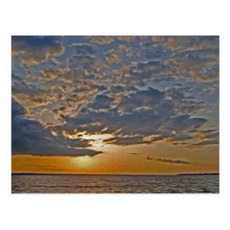 Puesta del sol en el río de Rappahanock Tarjetas Postales