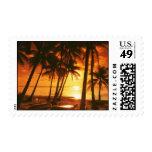 Puesta del sol en el sello de la playa
